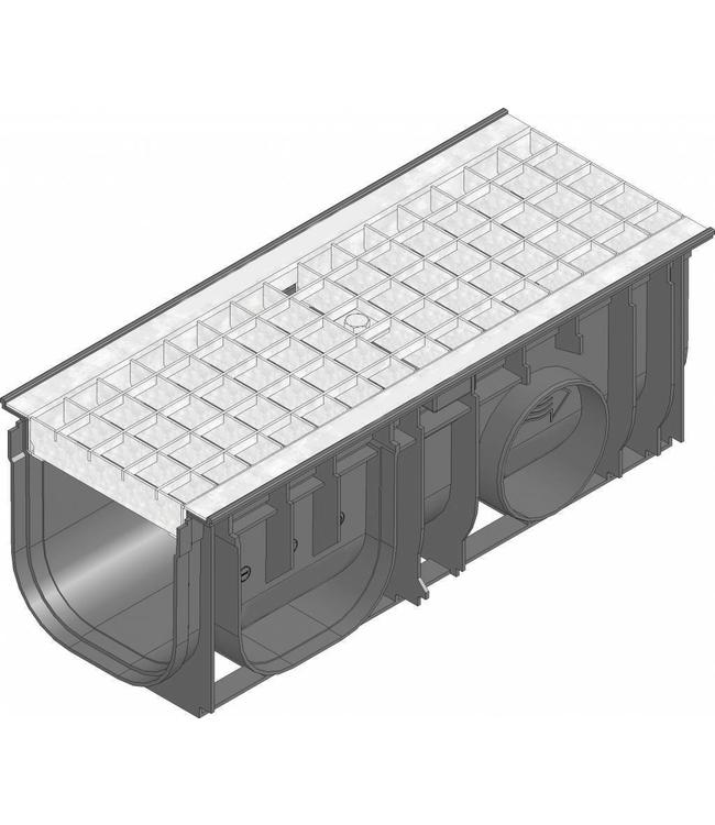 Hauraton Afvoergoot Recyfix Standaard 150 type 0105, l=0,5m, verzinktstalen maasrooster klasse B, 125KN