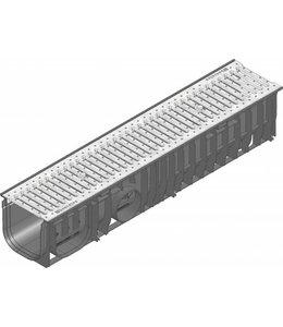 Hauraton Afvoergoot Recyfix Standaard 150 type 01, l=1m, verzinktstalen sleuvenrooster klasse A/15KN