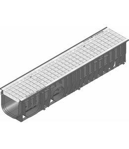 Hauraton Ablaufrinne RECYFIX Standard-150 Typ 01, l = 1m, verzinktem Stahlgitterrost der Klasse B / 125kN
