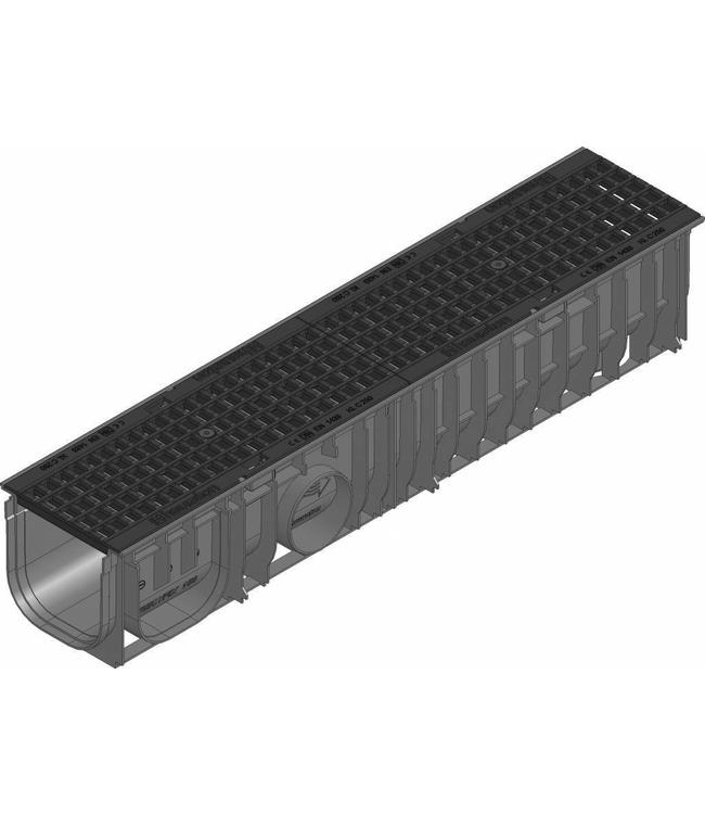 Hauraton Afvoergoot Recyfix Standaard 150 type 01, l=1m, Gietijzer maasrooster klasse C, 250KN