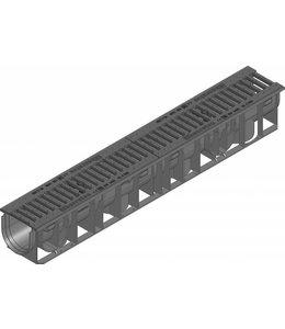 Hauraton Ablaufrinne RECYFIX Standard 100 Typ 01, l = 1 m, Gusseisen Schlitzrost der Klasse C / 250kN