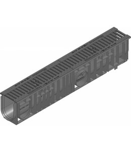 Hauraton Afvoergoot Recyfix Standaard 100 type 010, l=1m, Gietijzer sleuvenrooster klasse C, 250KN