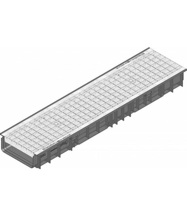 Hauraton Ablaufrinne RECYFIX Standard 200 Typ 100, l = 1m, verzinktem Stahlgitterrost der Klasse B / 125kN