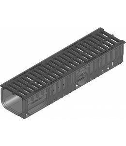 Hauraton Afvoergoot Recyfix Standaard 200 type 010, l=1m, Gietijzer sleuvenrooster klasse C, 250KN