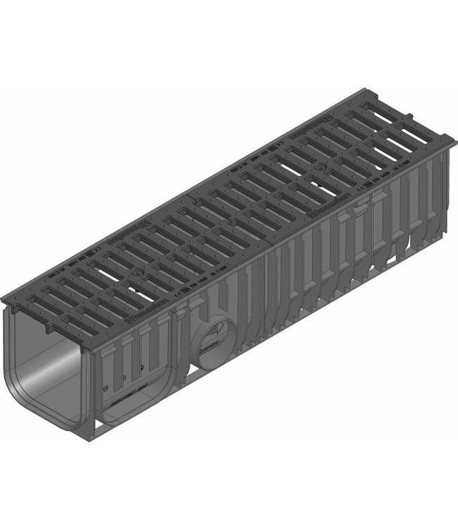 Hauraton Afvoergoot Recyfix Standaard 200 type 020, l=1m, Gietijzer sleuvenrooster klasse C, 250KN