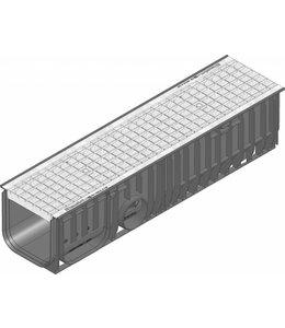Hauraton Afvoergoot Recyfix Standaard 200 type 020, l=1m, verzinktstalen maasrooster klasse B, 125KN