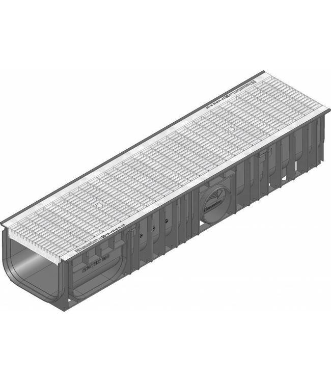 Hauraton Ablaufrinne RECYFIX Standard 200 Typ 010, l = 1m, verzinktem Stahlgitterrost der Klasse B / 125kN