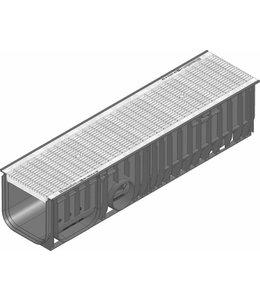 Hauraton Ablaufrinne RECYFIX Standard 200 Typ 020, l = 1m, verzinktem Stahlgitterrost der Klasse B / 125kN