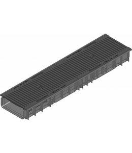 Hauraton Afvoergoot Recyfix Standaard 200 type 100, l=1m, Gietijzer sleuvenrooster klasse C, 250KN