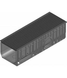 Hauraton Afvoergoot Recyfix Standaard 300 type 01, l=1m, Gietijzer maasrooster klasse C, 250KN