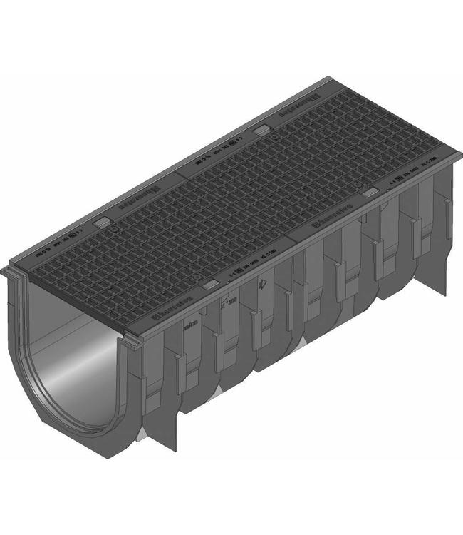 Hauraton Afvoergoot Recyfix Standaard 300 type 010, l=1m, Gietijzer maasrooster klasse C, 250KN