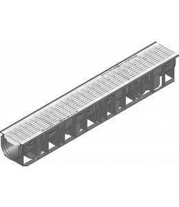 Hauraton Ablaufrinne RECYFIX Standard 100 Typ 01, l = 1m, verzinktem Stahlgitterrost der Klasse B / 125kN