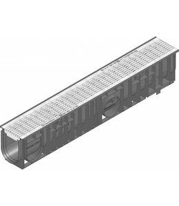 Hauraton Ablaufrinne RECYFIX Standard 100 Typ 010, l = 1m, verzinktem Stahlgitterrost der Klasse B / 125kN