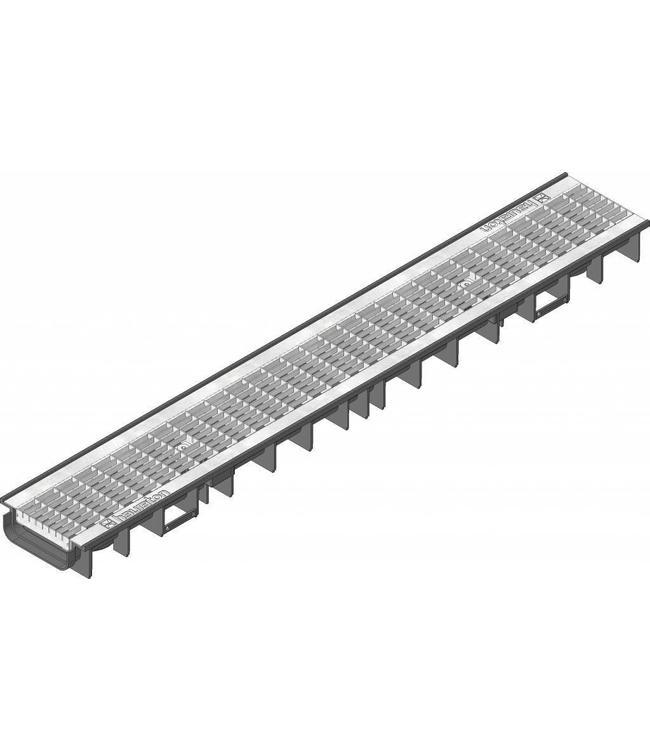 Hauraton Ablaufrinne RECYFIX Standard 100 Typ 60, l = 1m, verzinktem Stahlgitterrost der Klasse B / 125kN