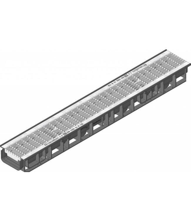 Hauraton Ablaufrinne RECYFIX Standard 100 Typ 80, l = 1m, verzinktem Stahlgitterrost der Klasse B / 125kN