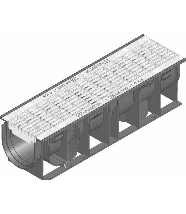 Hauraton Ablaufrinne RECYFIX Standard 100 Typ 0105, l = 0,5m, verzinktem Stahl-Mesh-Gitter der Klasse B / 125kN