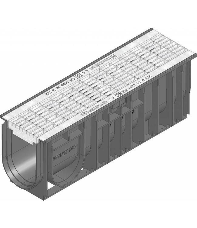 Hauraton Afvoergoot Recyfix Standaard 100 type 01005, l=0,5m, verzinktstalen maasrooster klasse B, 125KN