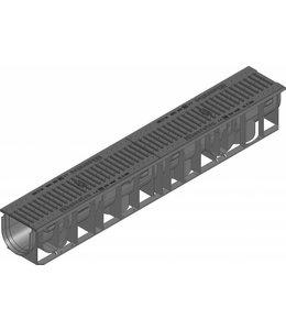 Hauraton Afvoergoot Recyfix Standaard 100 type 01, l=1m, Gietijzer sleuvenrooster klasse C, 250KN