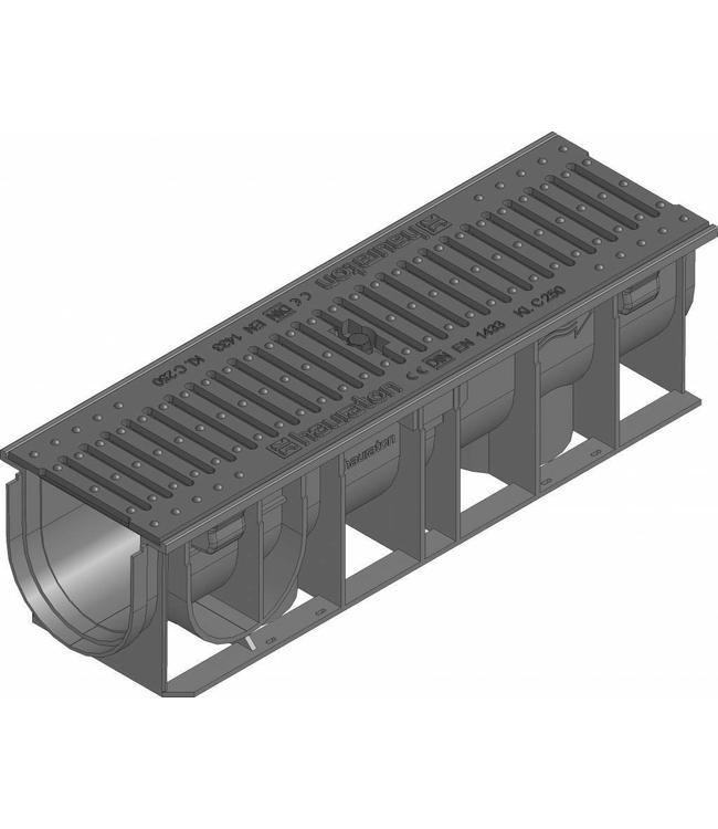 Hauraton Afvoergoot Recyfix Standaard 100 type 0105, l=0,5m, Gietijzer sleuvenrooster klasse C, 250KN