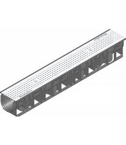 Hauraton Ablaufrinne RECYFIX Standard 100 Typ 01, l = 1 m, Edelstahl-Lochgitter Klasse A / 15 Kn