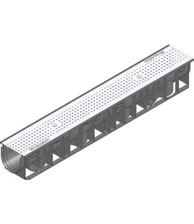 Hauraton Afvoergoot Recyfix Standaard 100 type 01, l=1m, RVS perforooster klasse A, 15KN