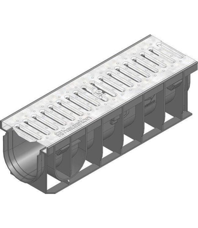 Hauraton Ablaufrinne RECYFIX Pro 100 Modell 0105, l = 0,5m, Stahl verzinkt Schlitzrost der Klasse A / 15 Kn