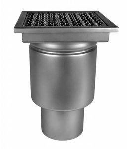 Diederen Edelstahlablauf Typ W200, 200x200mm, SS304, einteilig, 75 mm Bodenablauf, Roststäbe.