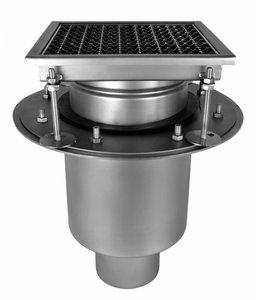 Diederen Edelstahlablauf Typ W250, 250x250mm, SS304, 2-teilig, im Ablauf 110mm, Tellerhalter.