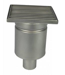 Diederen RVS afvoerput type WM200, 200x200mm, RVS304, 1-delig, onderafvoer 50mm, sleuf (perfo)rooster.
