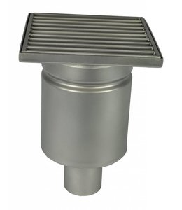 Diederen Edelstahlablauf Typ WM200, 200x200mm, SS304, einteilig, unter Ablauf 50mm, Plattenträger.