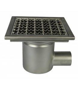 Diederen RVS afvoerput type WM200, 200x200mm, RVS304, 1-delig, zijafvoer 75mm, antislip maasrooster.