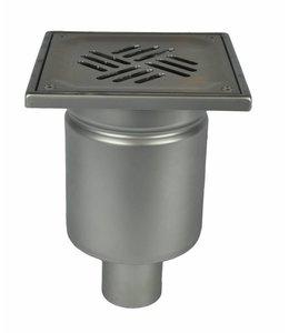 Diederen Edelstahlablauf Typ WM200, 200x200mm, SS304, einteilig, 75 mm Bodenablauf, Roststäbe.