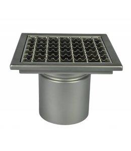 Diederen Edelstahlablauf Typ WM200, 200x200mm, SS304, einteilig, unter Ablauf 110mm, Tellerhalter.