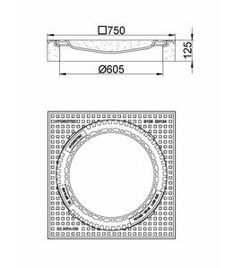 HYDROTEC Putafdekking ECO 610, h=125mm, klasse B, 125KN. Ontluchting