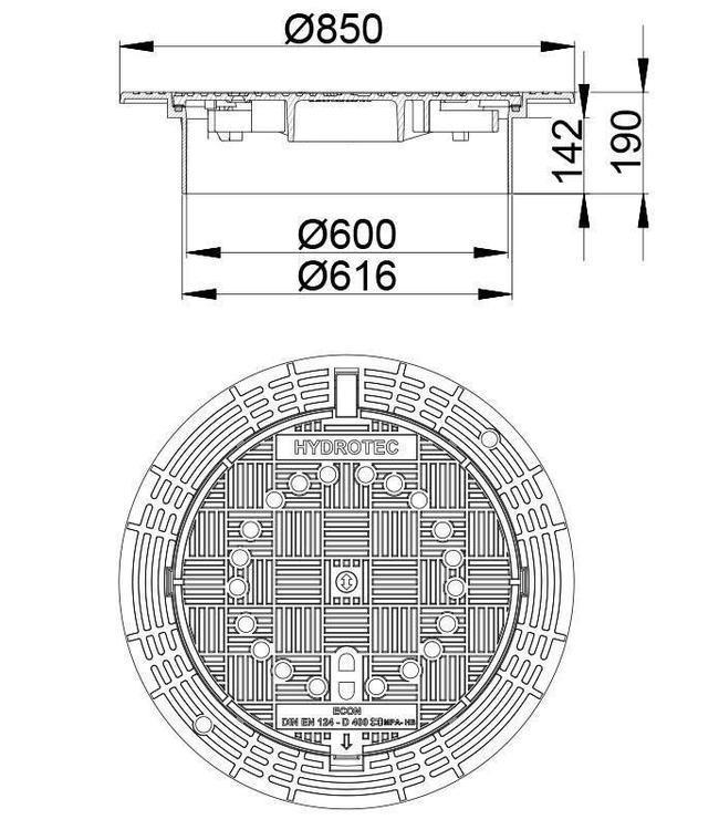 HYDROTEC Putafdekking ECON 600, h=190mm, zelflevel, ontl., klasse D, 400KN