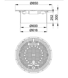HYDROTEC Abdeckung ECON 600, h = 300mm, selbstlegend, Klasse D, 400KN