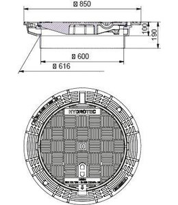 Brunnenabdeckung, Gitterabdeckung ECON 600, h = 300mm, selbstlegend, Klasse D, 400KN