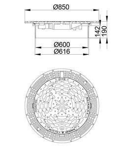 HYDROTEC Abdeckung ECON 600, h = 190mm, selbstlegend, Gitterabdeckung, Klasse D, 400KN