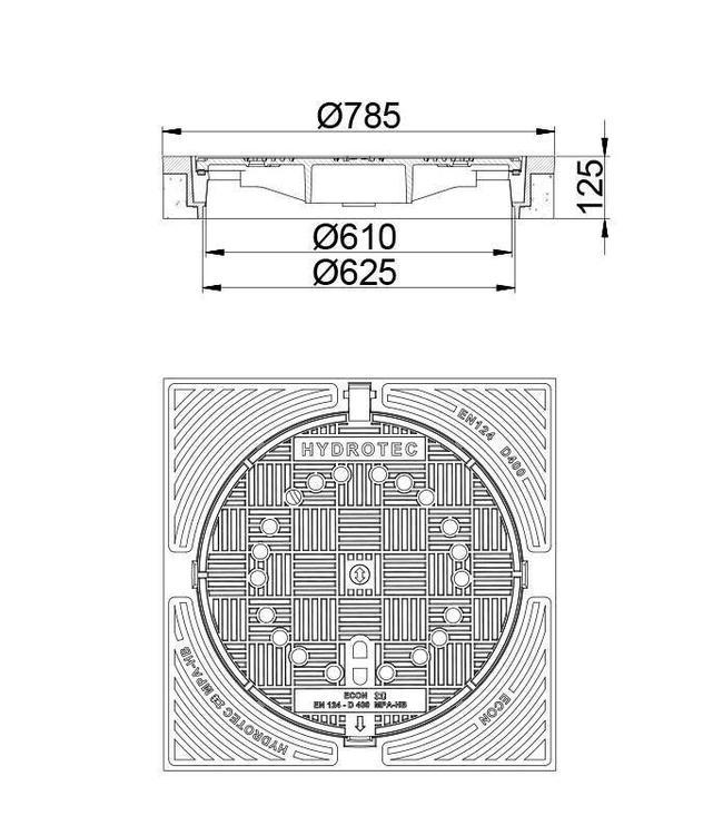 HYDROTEC Putafdekking ECON 600, h=125mm, ontl., klasse D, 400KN