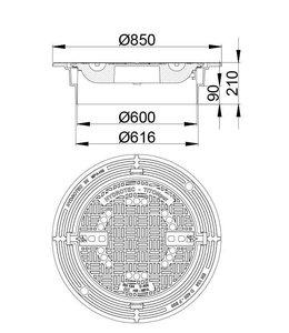 HYDROTEC Putafdekking TITONpur 600, h=210mm, zelflevel. Klasse D, 400KN. Ontluchting