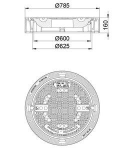 HYDROTEC Grubenabdeckung TITONpur 600, h = 160mm, Abtrennung, Klasse D, 400KN, 100% klapperfrei