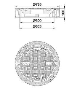HYDROTEC Grubenabdeckung TITONpur 600, h = 160mm, Klasse D, 400KN, 100% klapperfrei