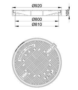 HYDROTEC Putafdekking TITONpur 800, h=105mm, zelflevel, klasse D, 400KN. Ontluchting