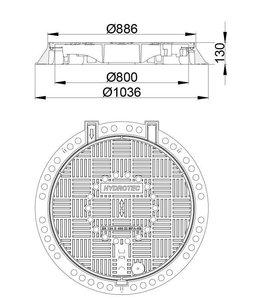 Putafdekking ECON 800, h=130mm, klasse D, 400KN. Ontluchting