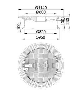 HYDROTEC Abdeckung ECON SN 800, h = 230mm, selbstlegend, Klasse D, 400KN