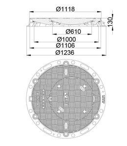 HYDROTEC Schachtabdeckung HYDROtight 1000/600, h = 130mm, Klasse D, 400KN