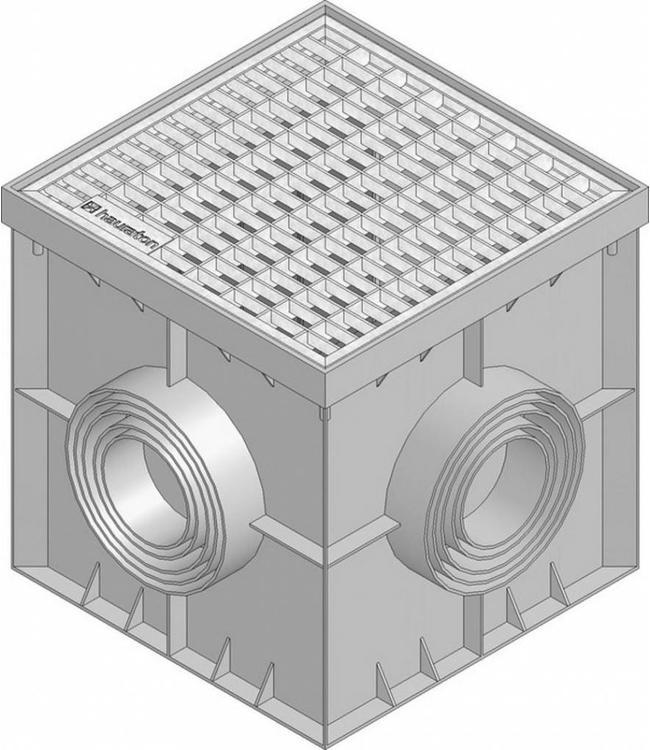 Hauraton Dränagewanne Recyfix Point 30/30, Gitter aus verzinktem Stahlgitter