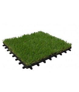 PP kunstgrastegel inclusief kunstgras 30x30x2,5cm. Groen. Geschikt voor loopverkeer