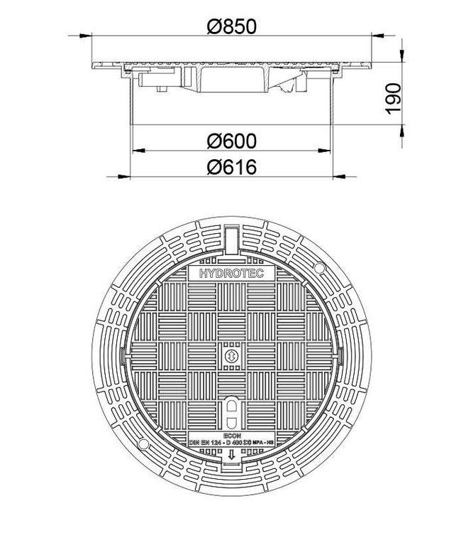 Putafdekking ECON SN 600, h=190mm, zelflevel, klasse D, 400KN