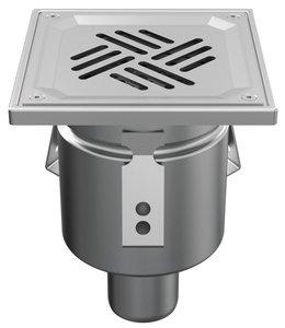 RVS eendelige afvoerput WMK150 met sleuf (perfo)rooster vastgezet, onderafvoer 50mm